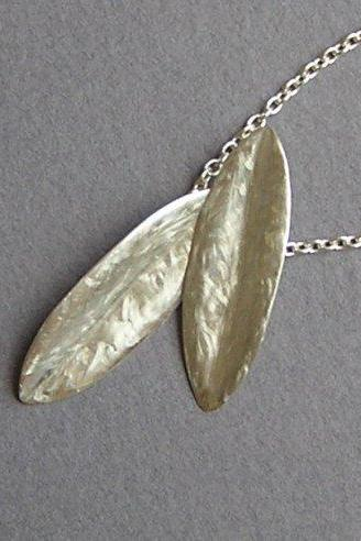 Leaves Necklace Pendant - Sterling Silver Leaves