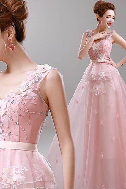 Fashion Long Evening Dress Party Dresses Flower Lace Pink Bride Dress Party Evening Elegant Vestido De Festa Robe De Soiree H733