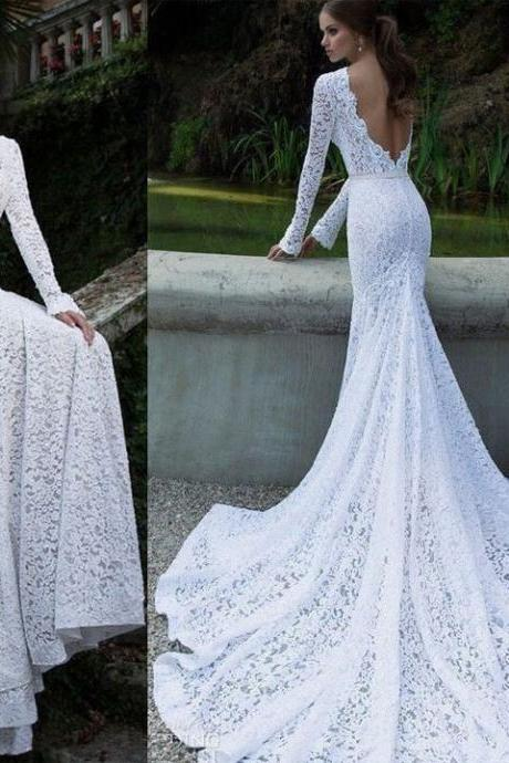 Lace Backless Maxi Fishtail Asymmetric Dress