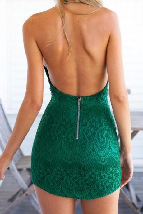 Green Lace Backless HOT DRESS