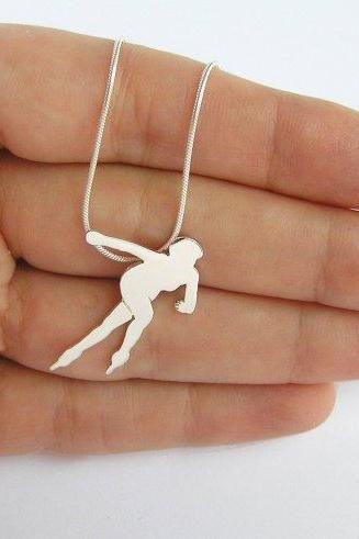 Sterling Silver necklace, Speed Skater Pendant, Sport Jewelry, Woman Silhouette, Hand Cut