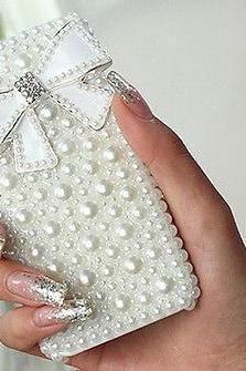 Bowknot pearl bling iPhone 7 Plus, iPhone 6 6s case, iPhone 6 6s Plus case, iPhone 5s SE case, iPhone 5c case, bling wallet case for samsung galaxy note 4 note 5 s7 edge s6 edge s5
