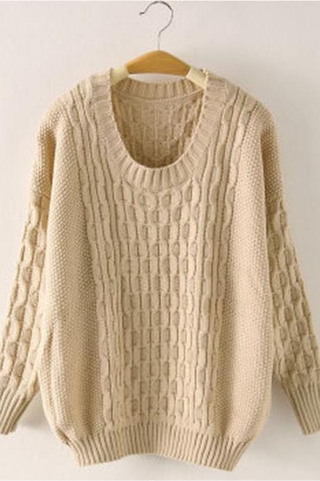 2014-2015 Hot sale Simple Pure Loose Knitted Sweater