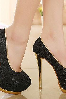 Black And Gold High Heels Fashion Shoes