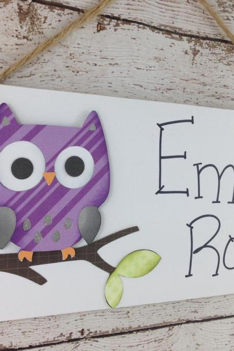 Personalized Kids Room Door Sign Purple Owl