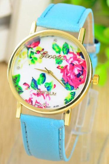 Rose Metal PU Watch