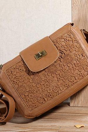 Brown Lace Flower Square Pillow Bag Shoulder Bag