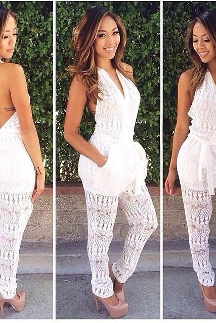 HOT CUTE WHITE JUMPSUIT
