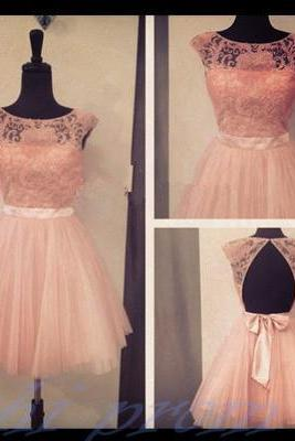 Blush Pink Homecoming Dress,Backless Homecoming Gown,Tulle Homecoming Gowns,Lace Party Dress,Open Back Evening Dresses With Cap Sleeves