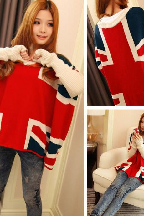 Hot sale Fashion British Flag Bat Sleeve Loose Sweater for women