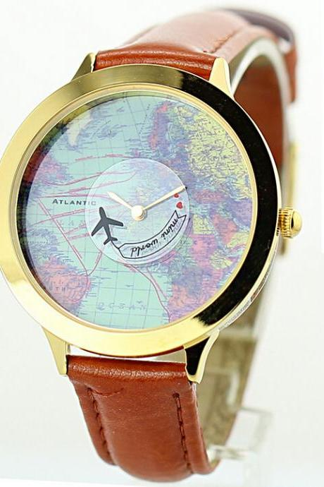 Fashion ladies' watch world map ls restoring ancient ways
