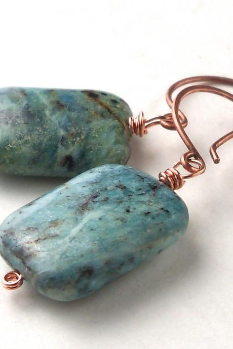Chrysocolla Copper Dangle Gemstone Earrings