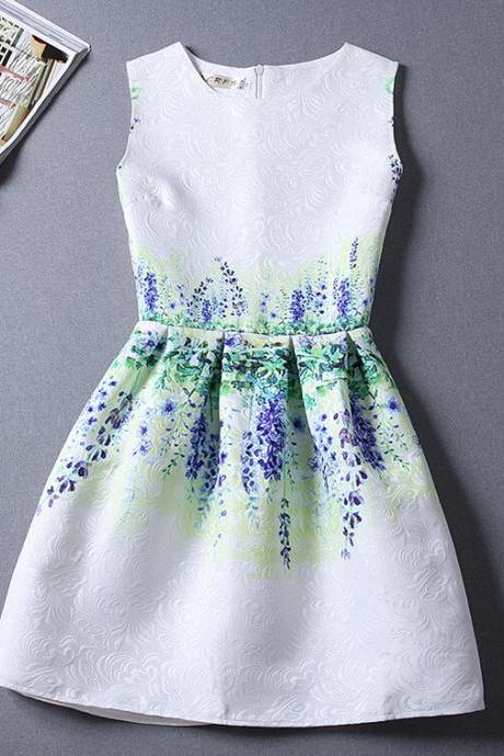 The new summer small pure and fresh and printing waist dress
