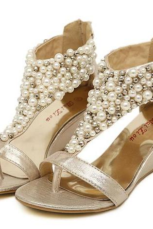 Beaded pearl wedge sandals