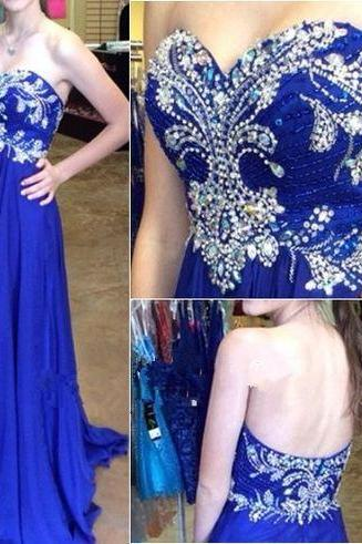 07275 High Quality Prom Dress,A-Line Prom Dress,Chiffon Prom Dress,Sweetheart Prom Dress, Brading Prom Dress