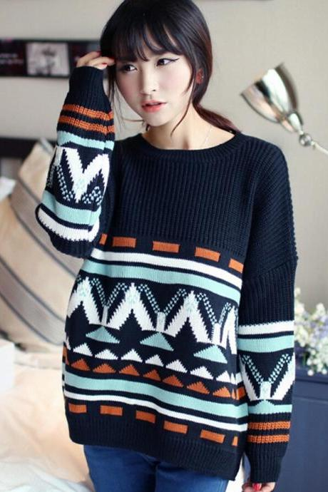 2015 Hot sale Unique Vintage Geometric Bat Sleeve Sweater