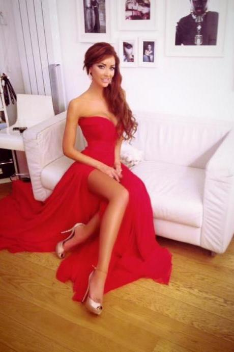 Sexy and elegant red prom dresses, chiffon evening dress