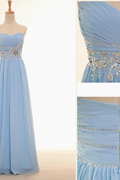 Fashion simple beaded evening dresses, prom party formal dress, chiffon dress, women elegant evening dress, dress Bra