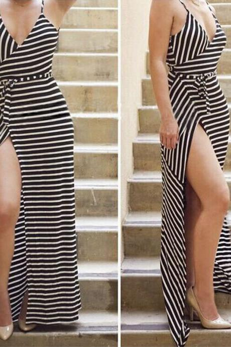 HOT CUTE STRIPE STRAPS DRESS