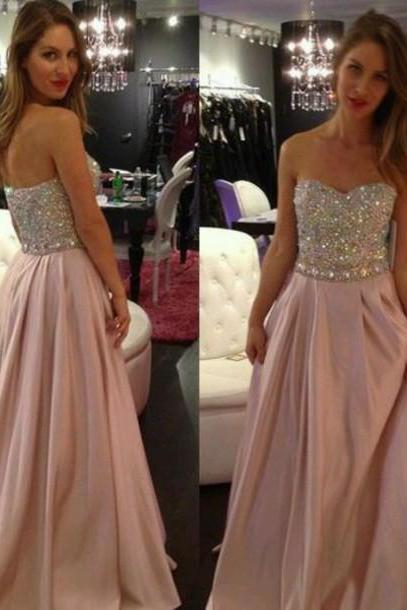 Hand-beaded V-neck sexy evening dress, prom dress , long evening dress