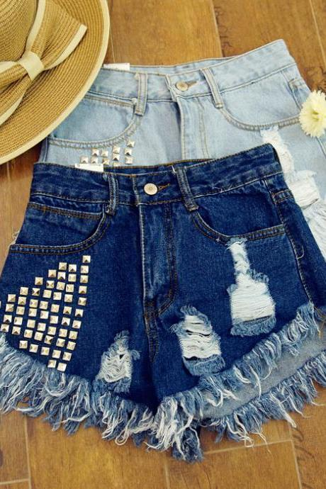 Summer new women high waist denim shorts hole rivet fringed