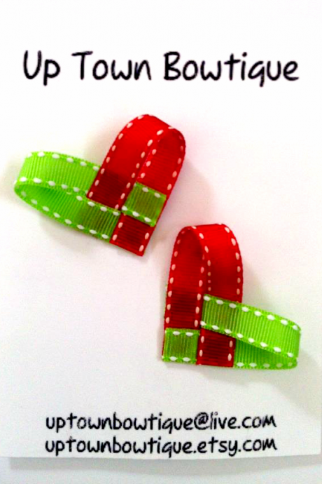 Christmas Red & Green Ribbon Heart Hair Clips