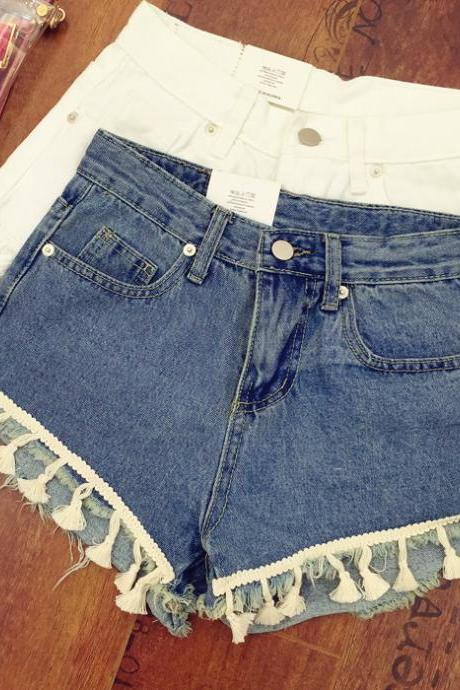 Retro fashion wild fringed denim shorts, women
