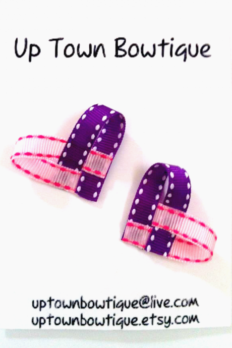 Pink & Purple Ribbon Heart Hair Clip