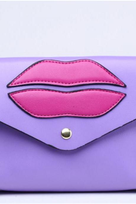 New girls lips handmade Mini bright messenger bag shoulder bag for Mobile Phone Wallet(Colour:Violet)