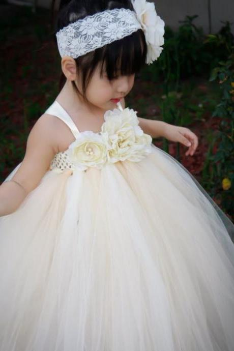Ivory Tutu Dress for Flower Girls 3T,4T,5T Ivory Wedding Photography Props Ivory Girls Tutu Dresses