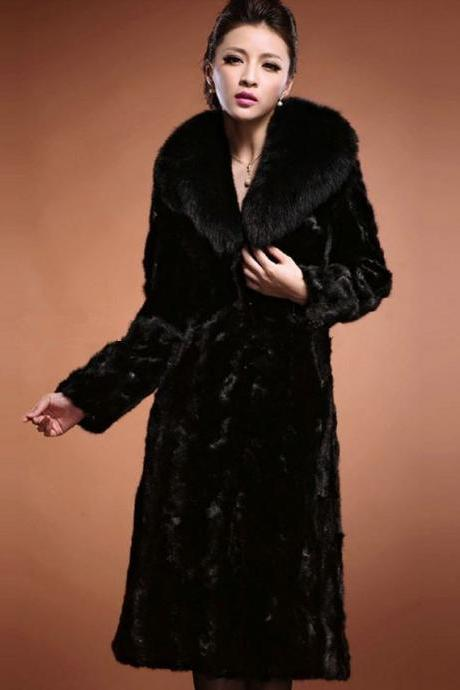 Black Mink Fur Coats Black Ultra Long Overcoats Super Quality Winter Coats