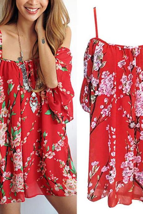 Red Floral Print Cold Shoulder Short Chiffon Dress Featuring Flared Sleeves