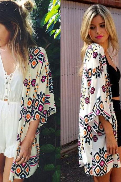 Sexy Women's Chiffon kaftan Bikini Cover UP Beach Dress Swimwear kimono Cardigan