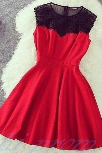 Red Homecoming Dress,Lace Homecoming Dresses,Satin Homecoming Gowns,Sweet 16 Dress,Princess Homecoming Dresses,A Line Casual Party Dress