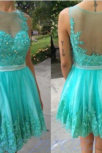 Turquoise Homecoming Dress With Lace Short Prom Gown,Backless Homecoming Gowns,Open Backs Homecoming Dress,Cute Homecoming Dresses,2015 Evening Dress