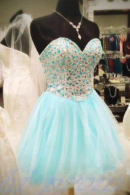 Light Blue Homecoming Dress,Beading Homecoming Dress,Tulle Prom Dress,Short Prom Gown,Gold Beading Formal Dress,2015 New fashion Sweet 16 Dresses