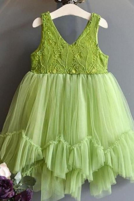 Summer Green Dress for Infant Girls Spring Dresses with Free Headband V-Neck Dresses-Fresh Green Photography Dress for Toddler Girls New Green Tutus