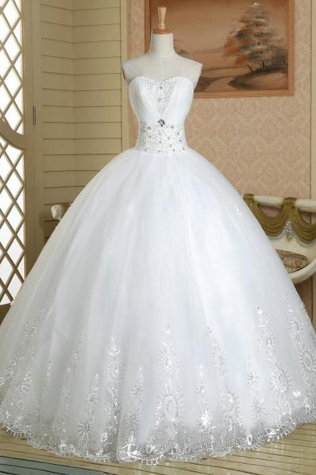 White pageant Quinceanera beaded crystal sparkly royal lace long tulle ball gown wedding dress bridal gown dresses for bride wedding gown