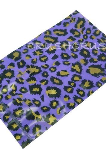 FREE SHIPPING -- 40pcs Purple And Gold Leopard Animal Print Plastic Bags for Gifts Cute G18