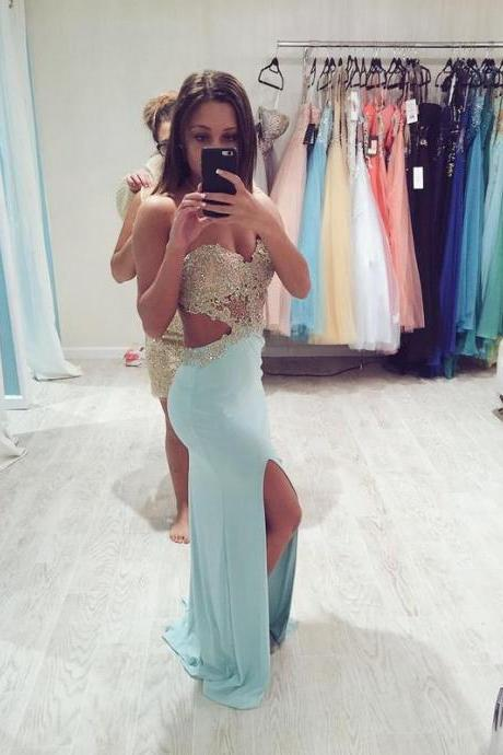 Ulass Custom Made Baby Blue Prom Dresses, Long Evening Dresses