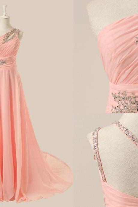 Delicate Pink One Shoulder Beadings Prom Gown , Elegant Prom Dresses 2016, Evening Gowns, Formal Dresses