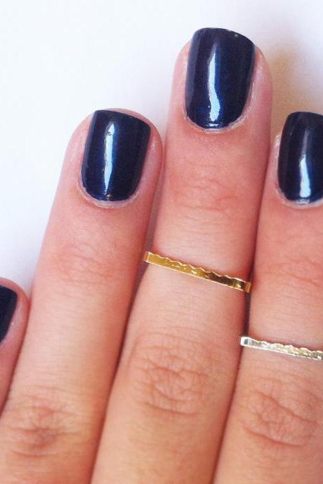 SQUARE Above the Knuckle Rings - set of 2 gold and silver square midi rings