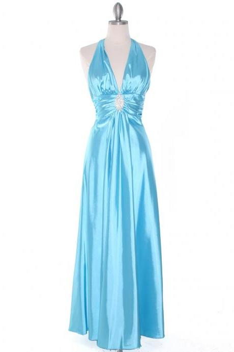 2015 new prom dresses and Evening Dress of Bridesmaid dresses Blue Satin Halter Evening Gown