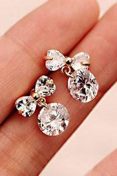 BOWKNOT RHINESTONE EARRINGS