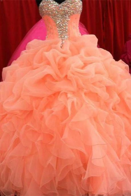 Charming Peach Ball Gown Quinceanera Dresses for 15 2015 Custom made Prom Dresses Sweetheart Beaded Ruffles Ruched Wedding Dresses