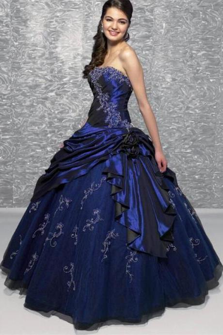 Purple Roual Blue Burgundy Ball Gown Quinceanera Dresses for 15 Custom made Prom Dresses Sweetheart Beaded Ruffles Ruched Wedding Dresses 2015
