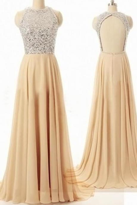 Beading Backless Floor-Length Charming Prom Dresses,A-Line Floor-Length Evening Dresses, Prom Dresses, Real Made Prom Dresses On Sale,Bridesmaid Dresses