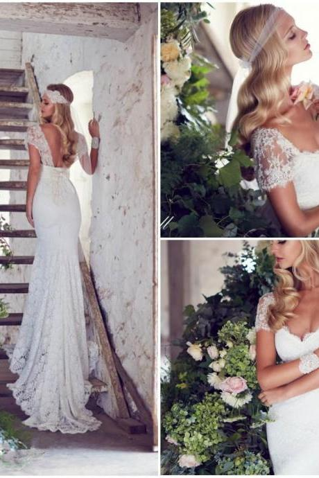 2015 Retro Sexy A-Line V-Neck Wedding Dresses Bow Backless Long Lace Wedding Dress Sleeveless Bridal Gowns Hot Sale