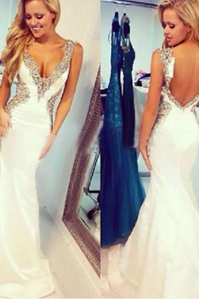 V-Neck Beading Charming Prom Dresses,The Backless Floor-Length Evening Dresses, Prom Dresses, Real Made Prom Dresses On Sale,