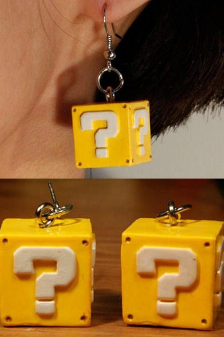 Square Question Mark Earrings